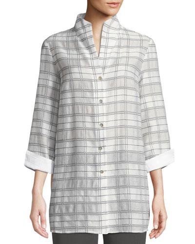 3/4-Sleeve Soft Plaid Shirt Jacket, Petite
