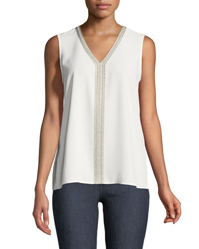 Metallic-Trim V-Neck Tank, Petite