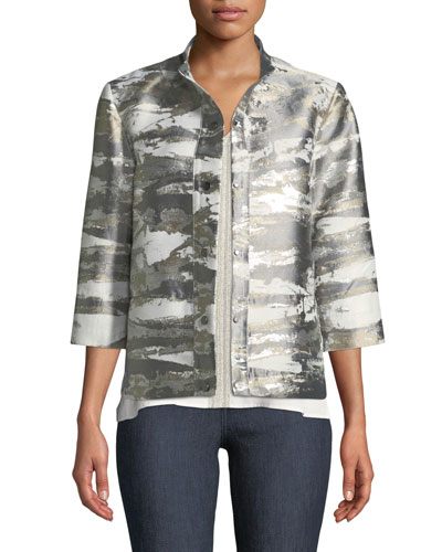 Graphic Metallic Short Jacket, Petite