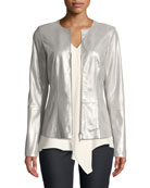 Maris Metallic-Weave Suede Jacket