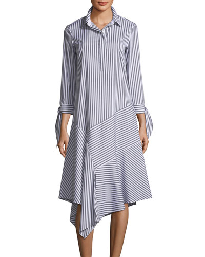 Leighton Striped Asymmetric-Hem Dress