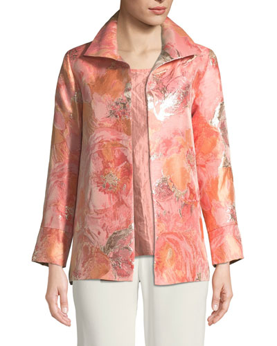 Sitting Pretty Floral Jacquard Jacket, Plus Size