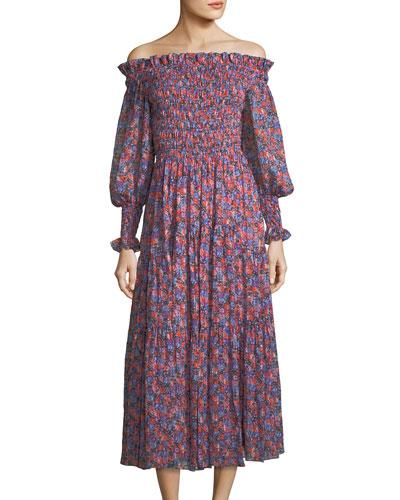 Cosmic Off-the-Shoulder Floral-Print Midi Dress