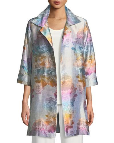 Ombré Rose Jacquard Party Jacket, Plus Size
