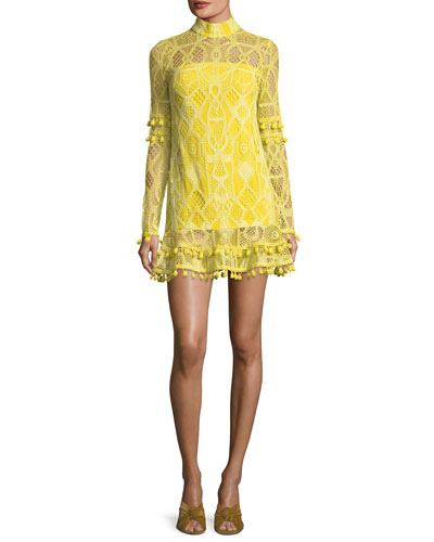 Callisto Mock-Neck Long-Sleeve A-Line Dress