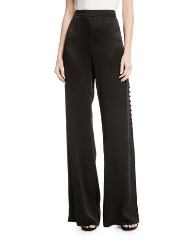 Belda Wide-Leg Side-Button Pants