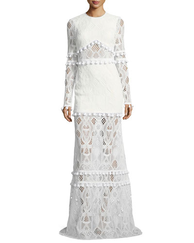 Thora Jewel-Neck Long-Sleeve Lace Maxi Dress