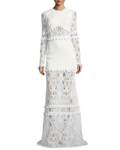 Thora Jewel-Neck Long-Sleeve Lace Maxi Dress