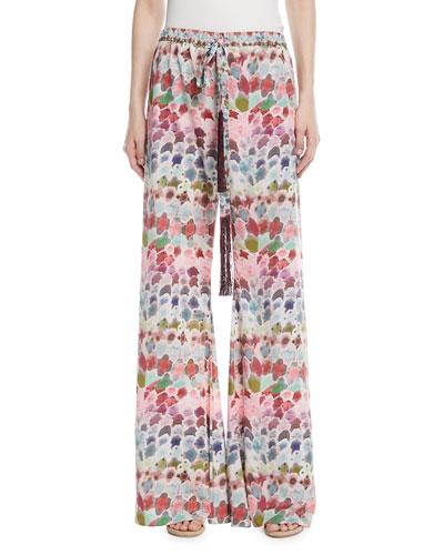 Zarafin Abstract-Print Wide-Leg Pull-On Silk Pants
