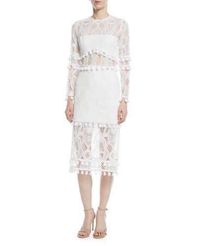 Callie Long-Sleeve Crochet-Lace Sheath Dress w/ Pompom Trim