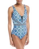 Collage-Printed Maillot One-Piece Swimsuit