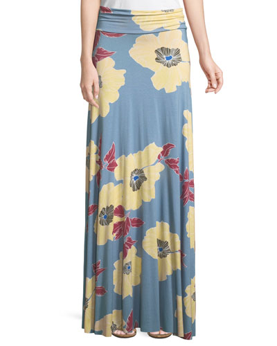Floral-Print Jersey Maxi Skirt, Plus Size