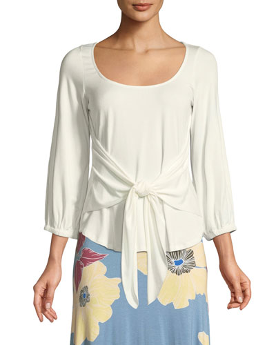 Catalina Tie-Front Jersey Top, Plus Size