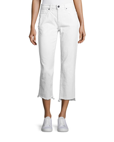 Shark Bite Straight-Leg Cropped Jeans, White