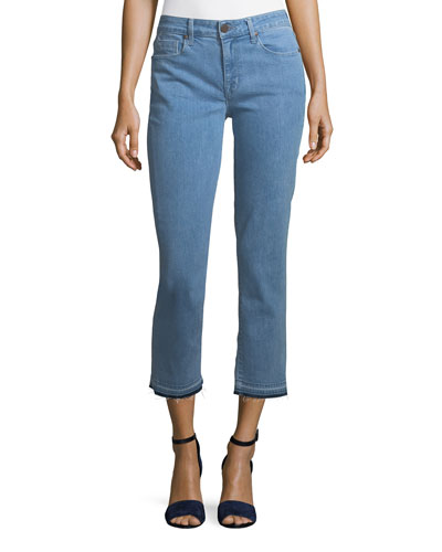 Cropped Straight-Leg Jeans with Released Hem