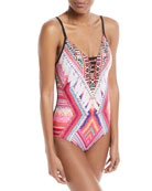 Desert Tribe Deep V Maillot One-Piece Swimsuit