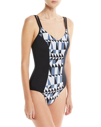 Jagged Geo-Print Maillot One-Piece Swimsuit, DD Cup