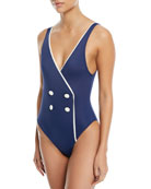 The Juliette Faux-Wrap One-Piece Swimsuit