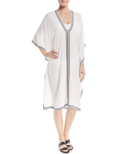 Boubou Spade-Embroidered V-Neck Silk Coverup Dress, One Size