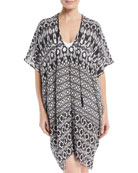 V-Neck Half-Sleeve Silk Printed Coverup Dress, One Size