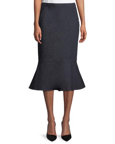 Eavanna Flounce-Hem Pencil Skirt