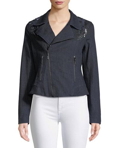 Mae Lace-Inset Denim Moto Jacket