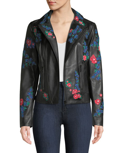Mae Floral Leather Jacket