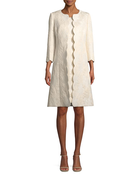 Albert Nipon Metallic Floral Jacquard Scallop Edge Coat & Dress