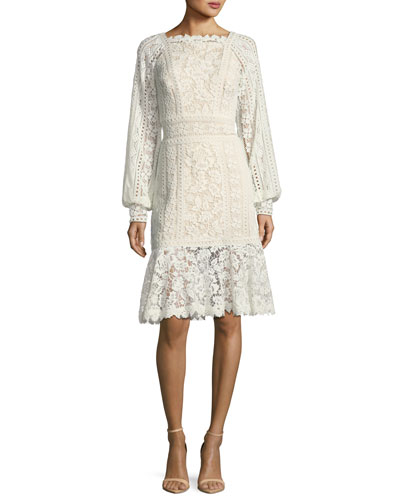 Eyelet-Lace Long-Sleeve Cocktail Dress