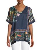 Rosanna Floral-Print Silk Top, Plus Size