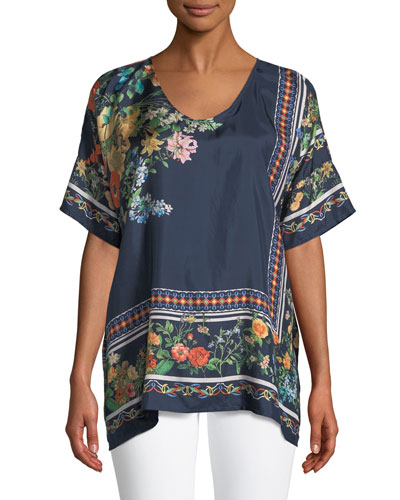 Rosanna Floral-Print Silk Top, Plus Size