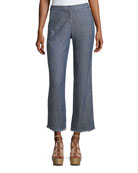 Crosshatch Chambray Bootcut Pants