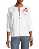 Exotic Bloom Embroidered Poplin Top