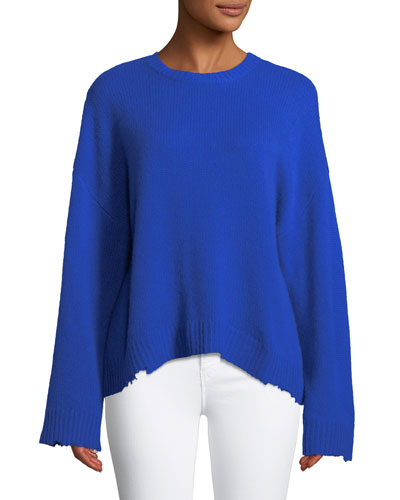 Emmet Crewneck Long-Sleeve Boxy Cashmere Sweater