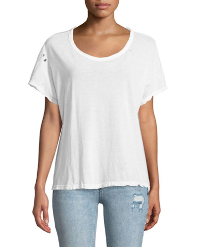 Dawn Crewneck Short-Sleeve Distressed Boxy Tee