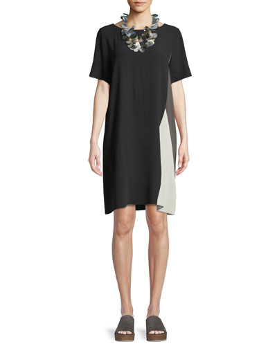 Silk Georgette Colorblock Short-Sleeve Dress, Plus Size