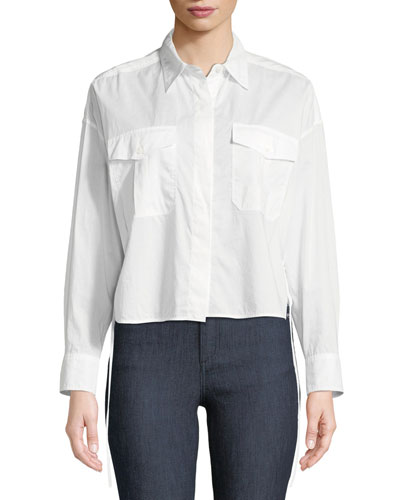 Cropped Self-Tie Mason Shirt