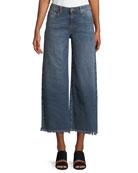 Organic Cotton Stretch-Denim Wide-Leg Ankle Jeans with Raw Edges, Plus Size