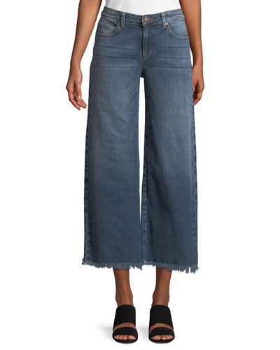 Organic Cotton Stretch-Denim Wide-Leg Ankle Jeans with Raw Edges, Plus Size