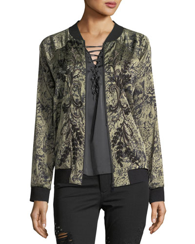 HAUTE HIPPIE Crystal Ball Zip-Front Bomber Jacket With Beaded Trim in Multi Pattern
