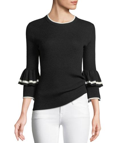 Ruffle-Cuff Rib-Knit Wool Sweater