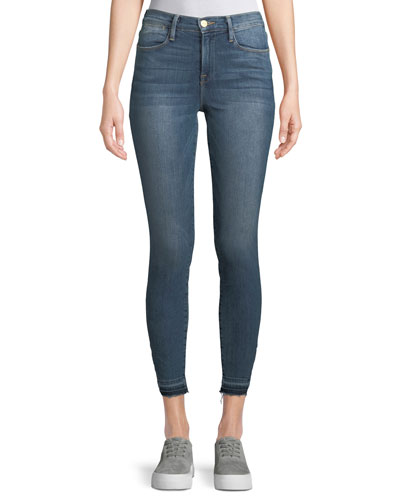 Le High Skinny-Leg Jeans w/ Triangle-Cut Hem