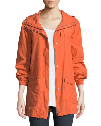 Washed Organic Cotton-Blend Hooded Anorak Jacket, Plus Size