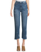 Sarah High-Rise Straight-Leg Crop Jeans with Fray Hem