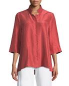 3/4-Sleeve Silk Doupioni Shirt, Petite