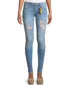 Marilyn Distressed Skinny-Leg Jeans with Beaded Embellishments