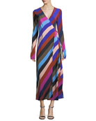 Long-Sleeve Striped Silk Wrap Dress