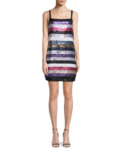 Nora Sleeveless Striped Sequin Mini Cocktail Dress