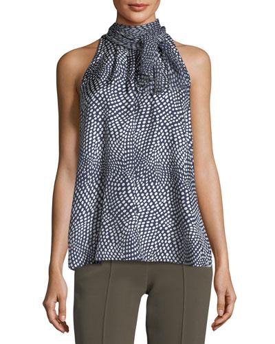 Tie-Neck Sleeveless Printed Silk Blouse