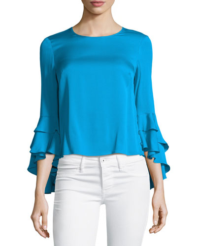 Gabby Silk Ruffle-Sleeve Top